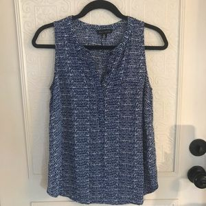 Willi Smith Blue Patterned Sleepless Blouse